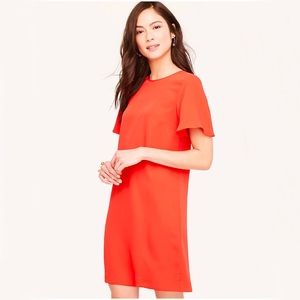 Ann Taylor Petite Ruffle Sleeve Shift Dress in Red